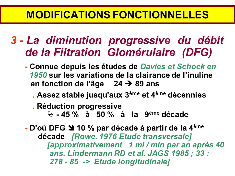 MODIFICATIONS FONCTIONNELLES 3 - La diminution progressive du débit de la Filtration Glomérulaire (DFG) - Connue depuis les études de Davies et Schock