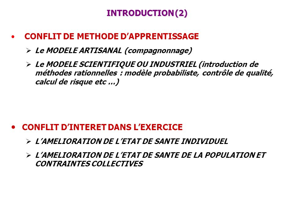 INTRODUCTION (2) CONFLIT DE METHODE DAPPRENTISSAGE Le MODELE ARTISANAL (compagnonnage) Le MODELE SCIENTIFIQUE OU INDUSTRIEL (introduction de méthodes