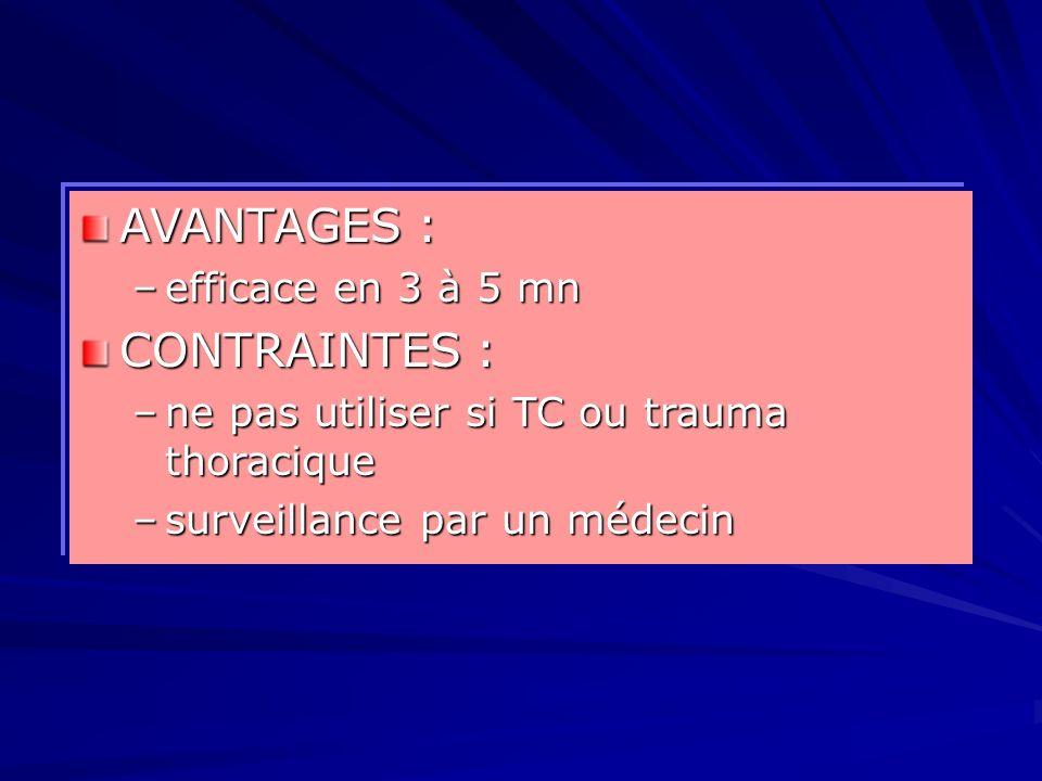 AVANTAGES : –efficace en 3 à 5 mn CONTRAINTES : –ne pas utiliser si TC ou trauma thoracique –surveillance par un médecin