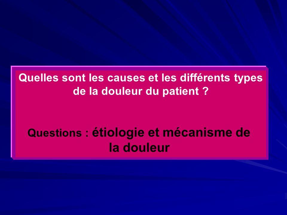 Quelles sont les causes et les différents types de la douleur du patient ? Questions : étiologie et mécanisme de la douleur