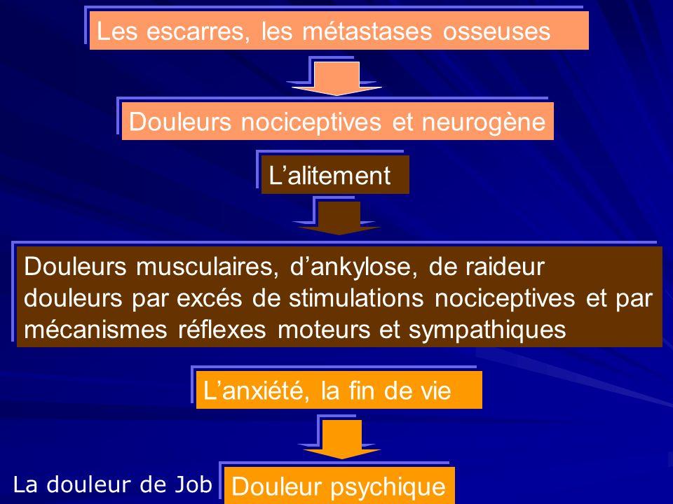 La douleur de Job Les escarres, les métastases osseuses Lalitement Lanxiété, la fin de vie Douleurs nociceptives et neurogène Douleurs musculaires, da