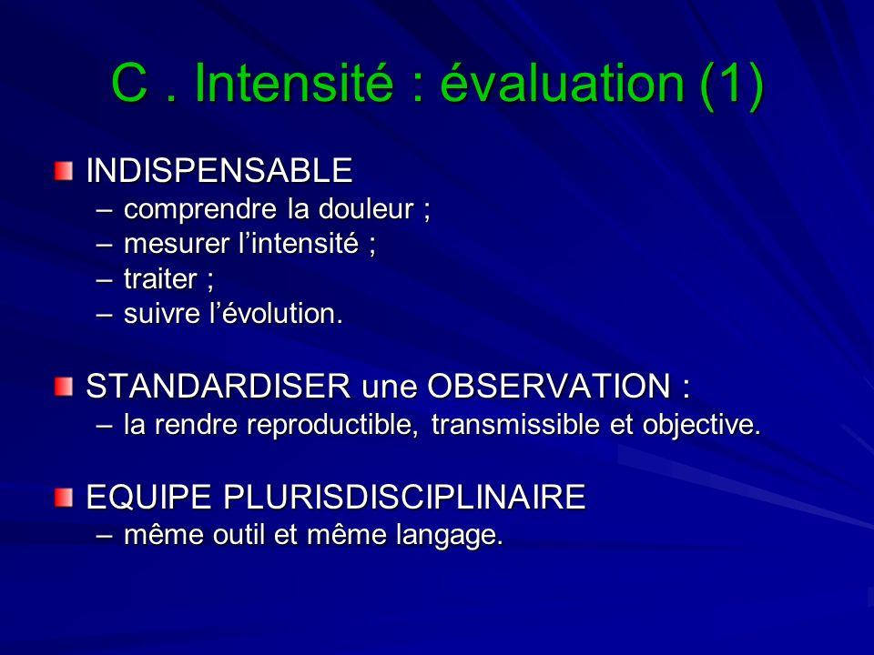 C. Intensité : évaluation (1) INDISPENSABLE –comprendre la douleur ; –mesurer lintensité ; –traiter ; –suivre lévolution. STANDARDISER une OBSERVATION