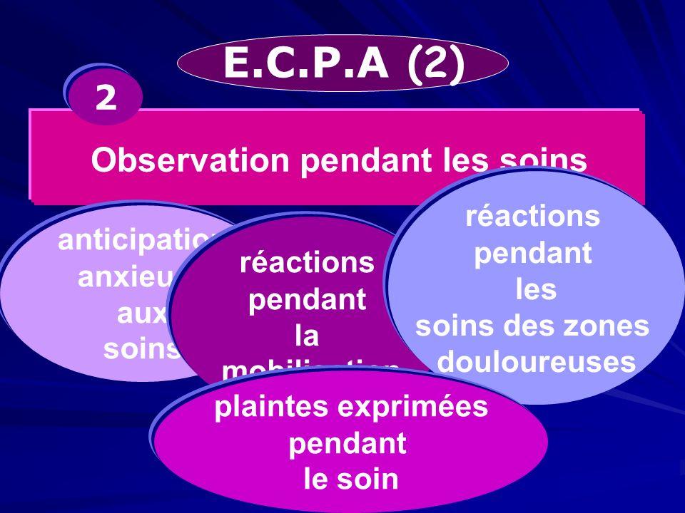 E.C.P.A (2) Observation pendant les soins 2 anticipation anxieuse aux soins réactions pendant la mobilisation réactions pendant les soins des zones do