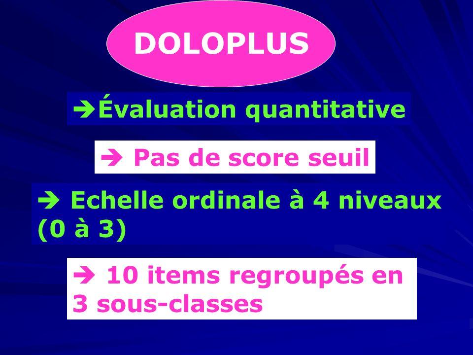 DOLOPLUS Évaluation quantitative Pas de score seuil Echelle ordinale à 4 niveaux (0 à 3) 10 items regroupés en 3 sous-classes