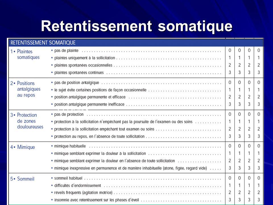 Retentissement somatique 5 ITEMS