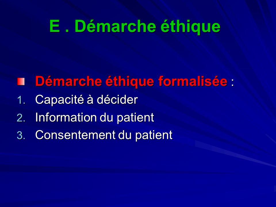E. Démarche éthique Démarche éthique formalisée : 1. Capacité à décider 2. Information du patient 3. Consentement du patient