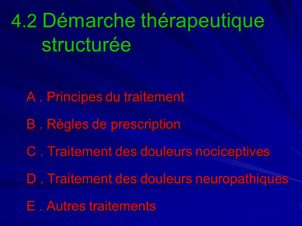 4.2 Démarche thérapeutique structurée A. Principes du traitement B. Règles de prescription C. Traitement des douleurs nociceptives D. Traitement des d