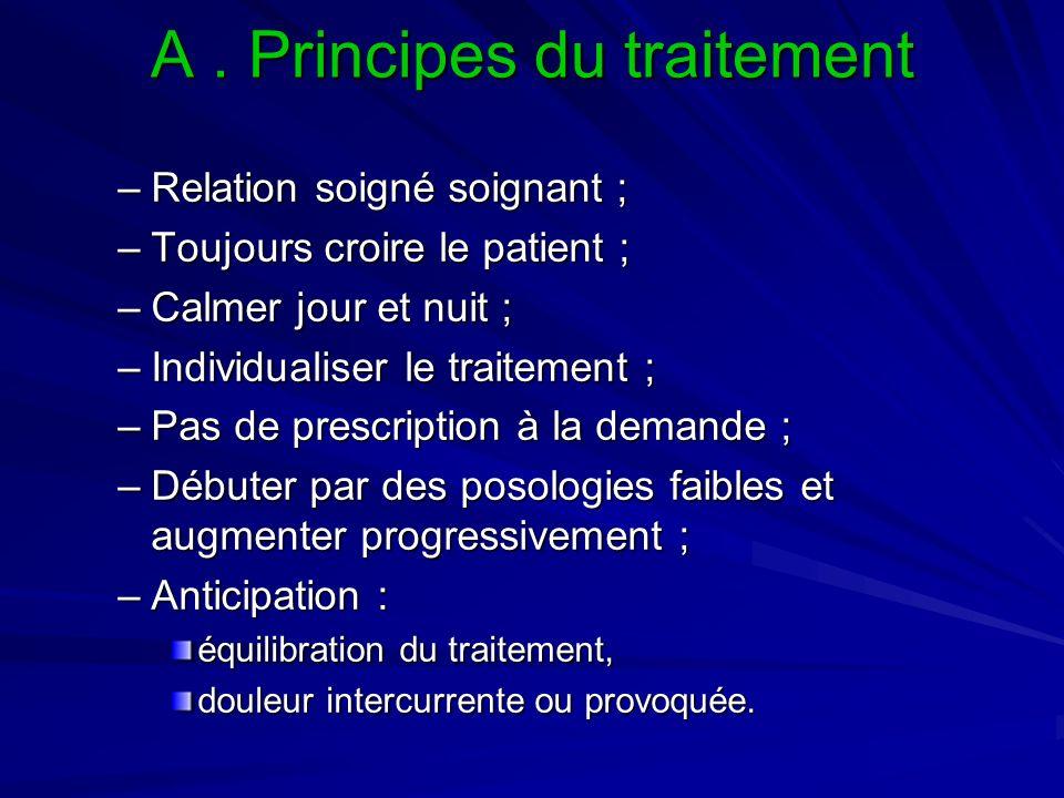 A. Principes du traitement –Relation soigné soignant ; –Toujours croire le patient ; –Calmer jour et nuit ; –Individualiser le traitement ; –Pas de pr