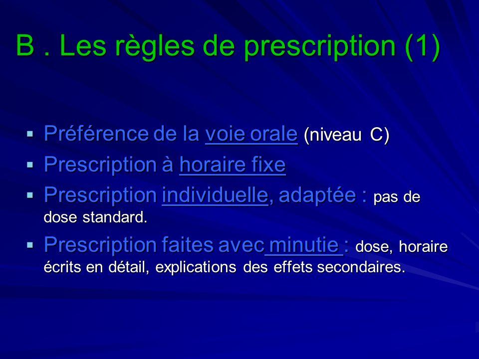 B. Les règles de prescription (1) Préférence de la voie orale (niveau C) Préférence de la voie orale (niveau C) Prescription à horaire fixe Prescripti