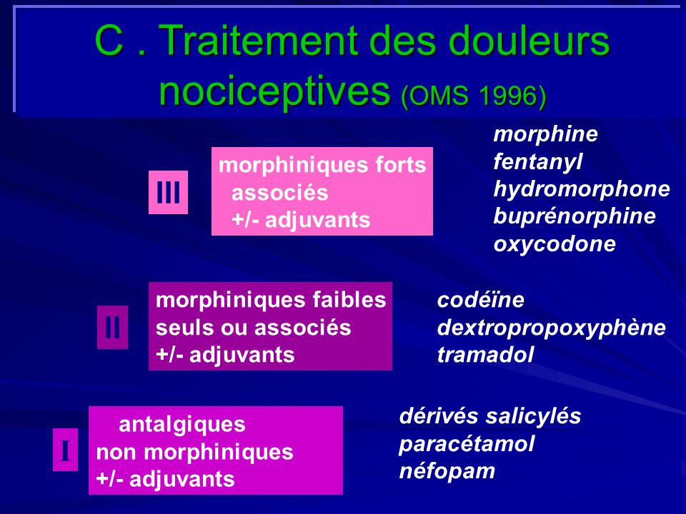 morphiniques forts associés +/- adjuvants morphiniques faibles seuls ou associés +/- adjuvants antalgiques non morphiniques +/- adjuvants I II III dér