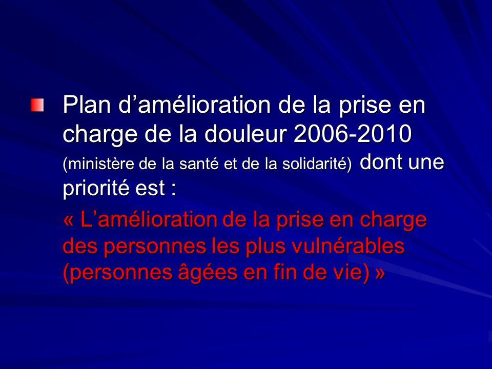 Plan damélioration de la prise en charge de la douleur 2006-2010 (ministère de la santé et de la solidarité) dont une priorité est : « Lamélioration d