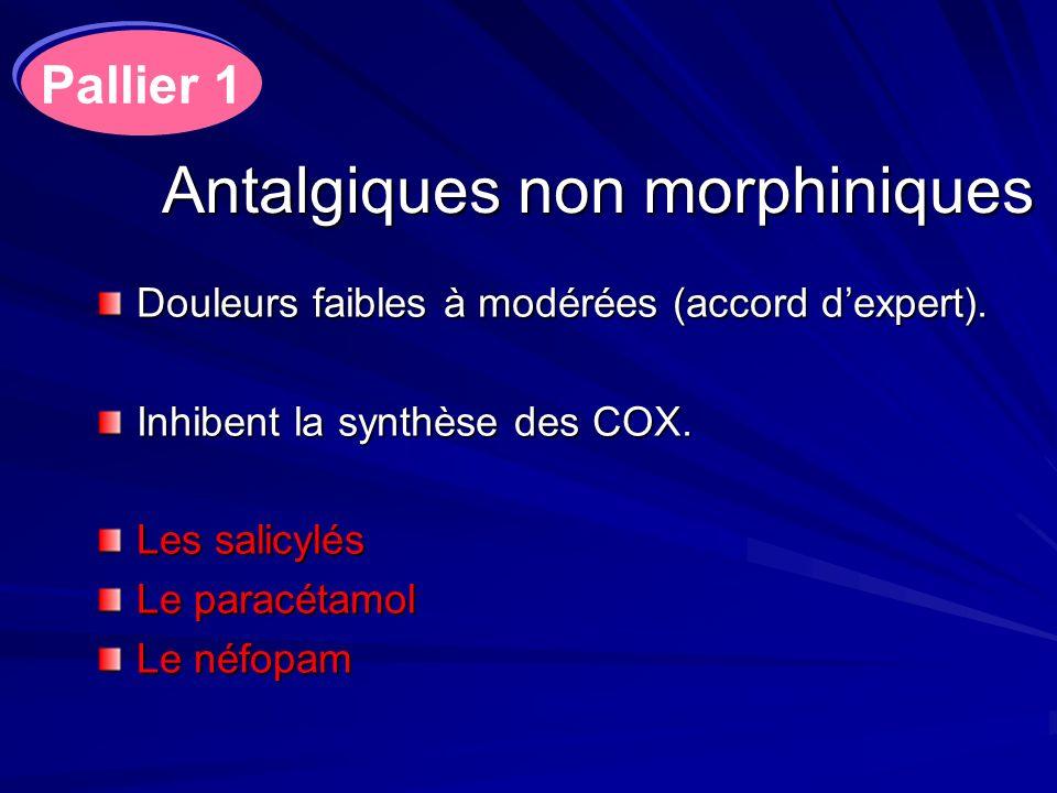 Antalgiques non morphiniques Douleurs faibles à modérées (accord dexpert). Inhibent la synthèse des COX. Les salicylés Le paracétamol Le néfopam Palli