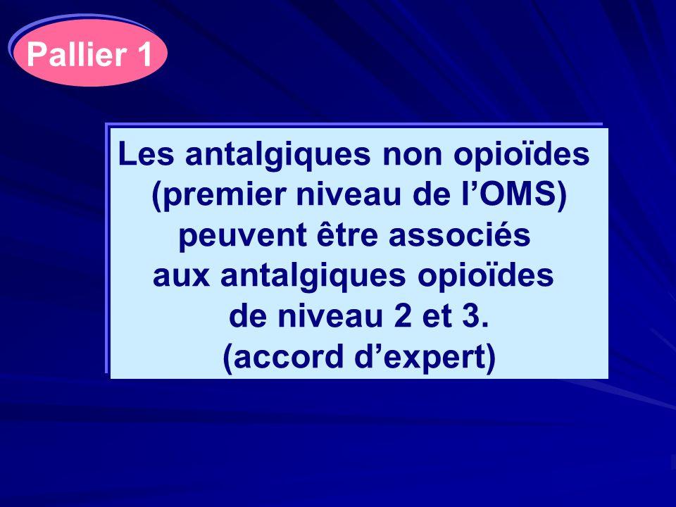 Les antalgiques non opioïdes (premier niveau de lOMS) peuvent être associés aux antalgiques opioïdes de niveau 2 et 3. (accord dexpert) Pallier 1