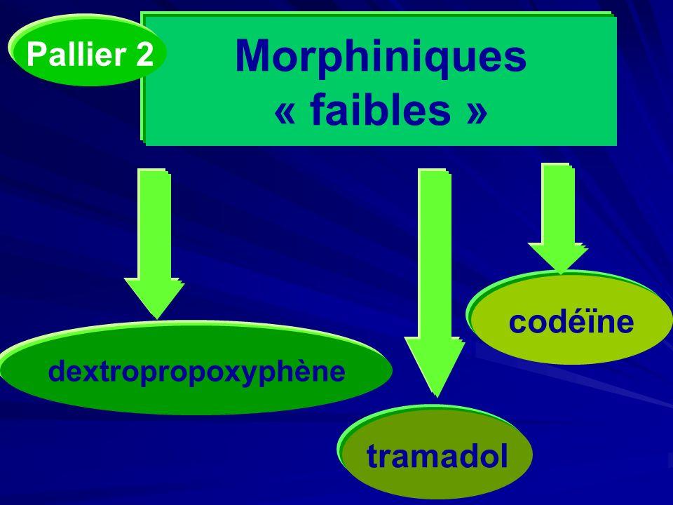 Morphiniques « faibles » codéïne dextropropoxyphène tramadol Pallier 2