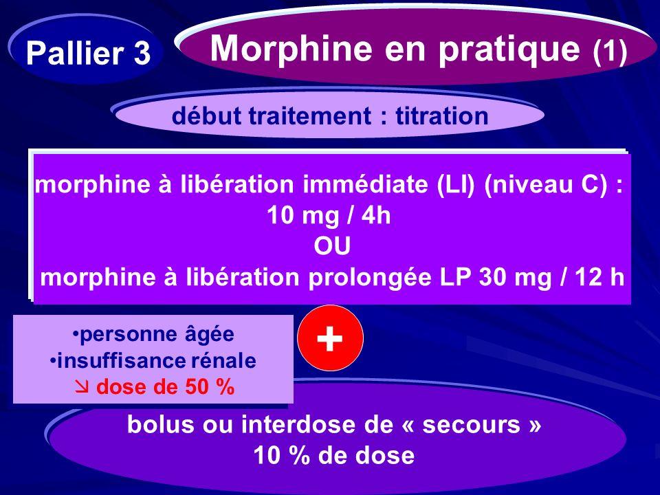 Morphine en pratique (1) morphine à libération immédiate (LI) (niveau C) : 10 mg / 4h OU morphine à libération prolongée LP 30 mg / 12 h début traitem
