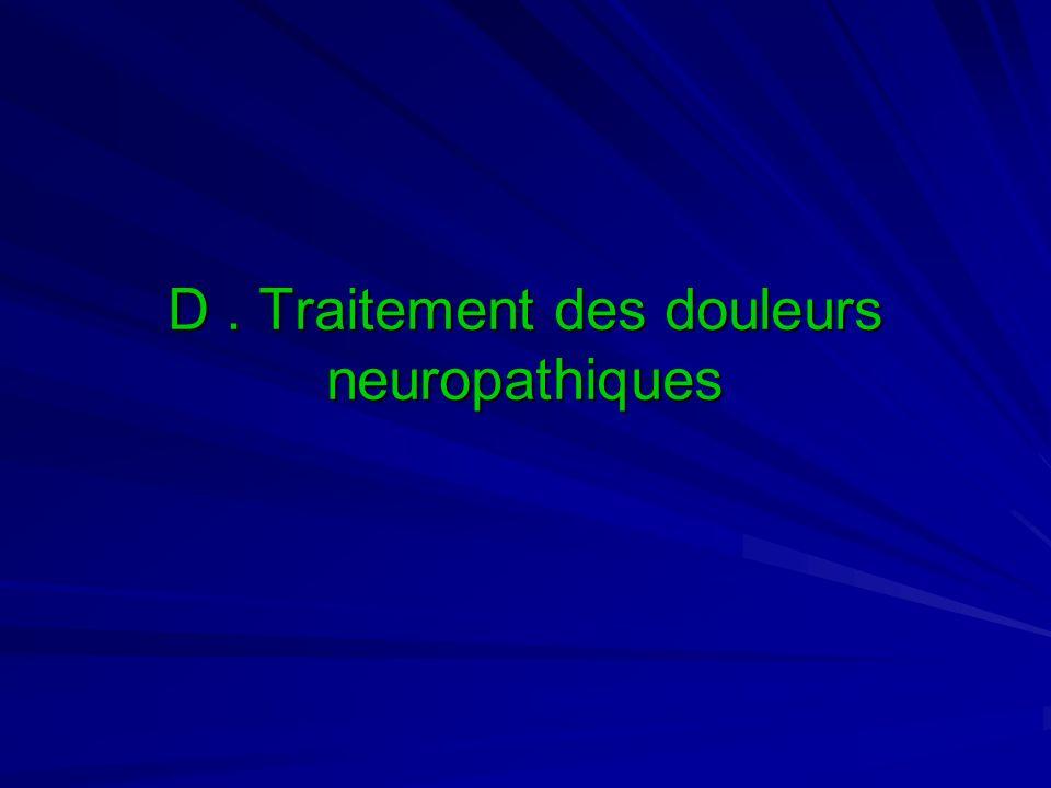 D. Traitement des douleurs neuropathiques