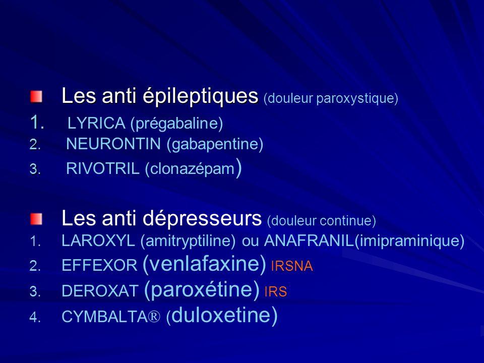 Les anti épileptiques Les anti épileptiques (douleur paroxystique) 1. 1. LYRICA (prégabaline) 2. 2. NEURONTIN (gabapentine) 3. 3. RIVOTRIL (clonazépam