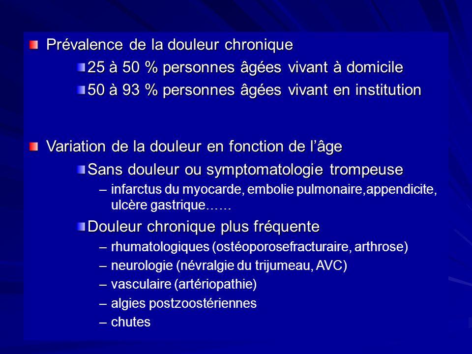 Prévalence de la douleur chronique 25 à 50 % personnes âgées vivant à domicile 50 à 93 % personnes âgées vivant en institution Variation de la douleur