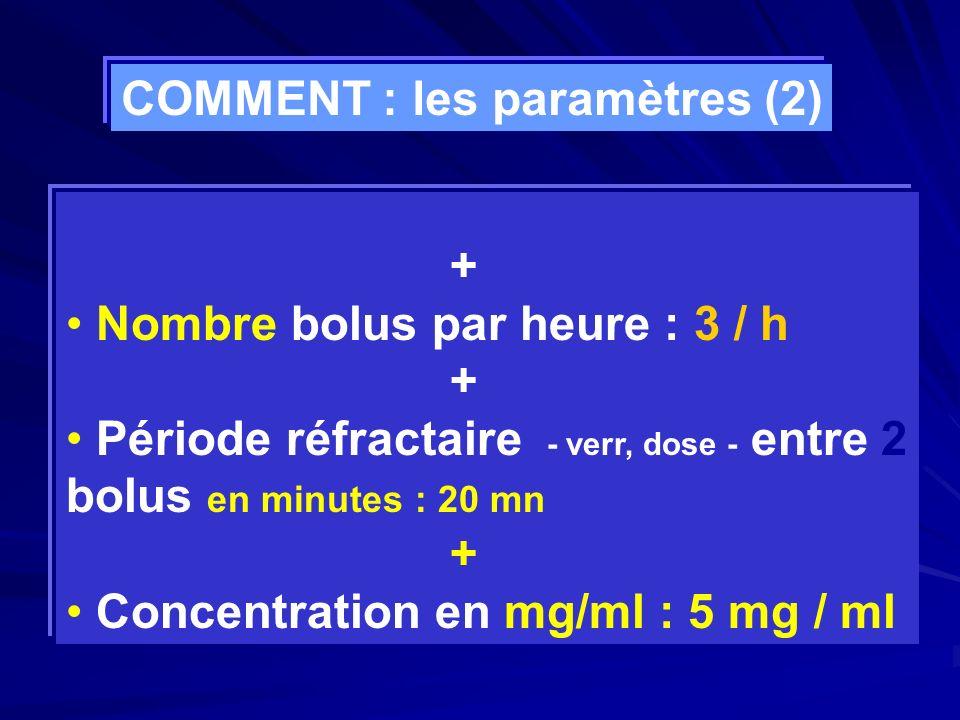 + Nombre bolus par heure : 3 / h + Période réfractaire - verr, dose - entre 2 bolus en minutes : 20 mn + Concentration en mg/ml : 5 mg / ml COMMENT :