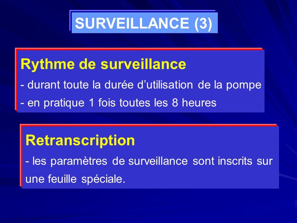 Rythme de surveillance - durant toute la durée dutilisation de la pompe - en pratique 1 fois toutes les 8 heures Retranscription - les paramètres de s