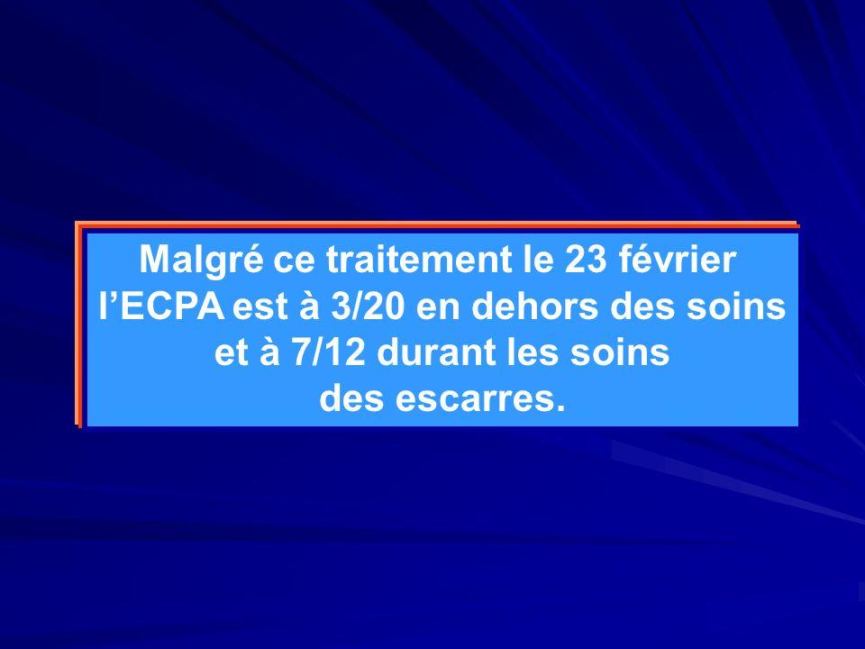 Malgré ce traitement le 23 février lECPA est à 3/20 en dehors des soins et à 7/12 durant les soins des escarres.