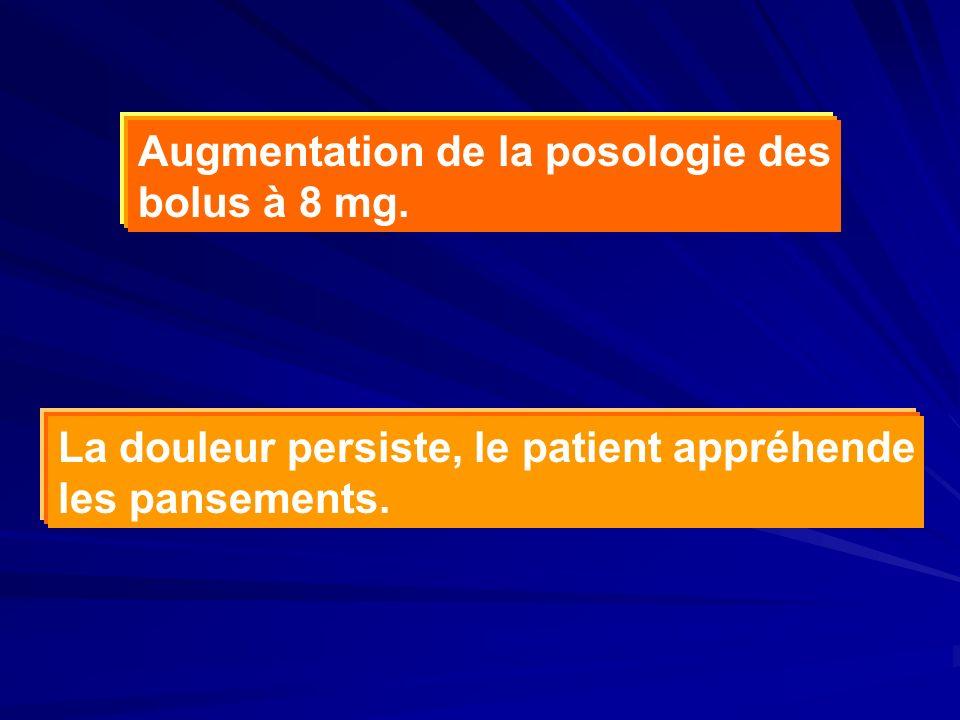 Augmentation de la posologie des bolus à 8 mg. La douleur persiste, le patient appréhende les pansements.