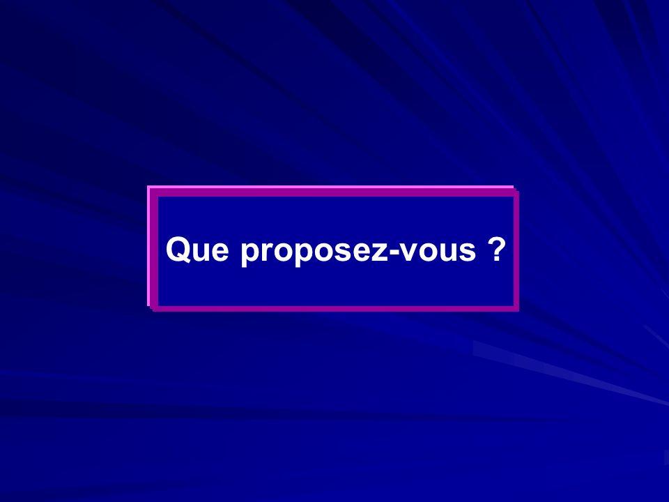 Que proposez-vous ?