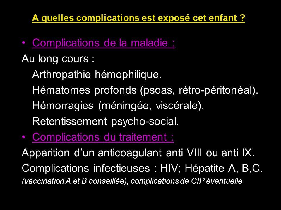 Complications de la maladie : Au long cours : Arthropathie hémophilique. Hématomes profonds (psoas, rétro-péritonéal). Hémorragies (méningée, viscéral