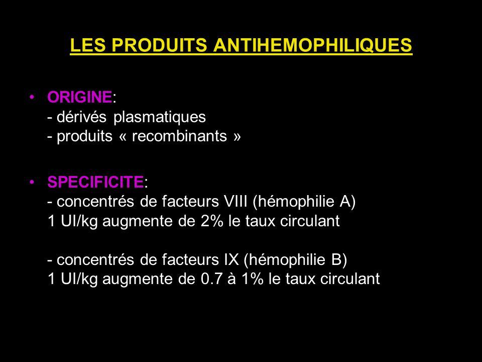 LES PRODUITS ANTIHEMOPHILIQUES ORIGINE: - dérivés plasmatiques - produits « recombinants » SPECIFICITE: - concentrés de facteurs VIII (hémophilie A) 1