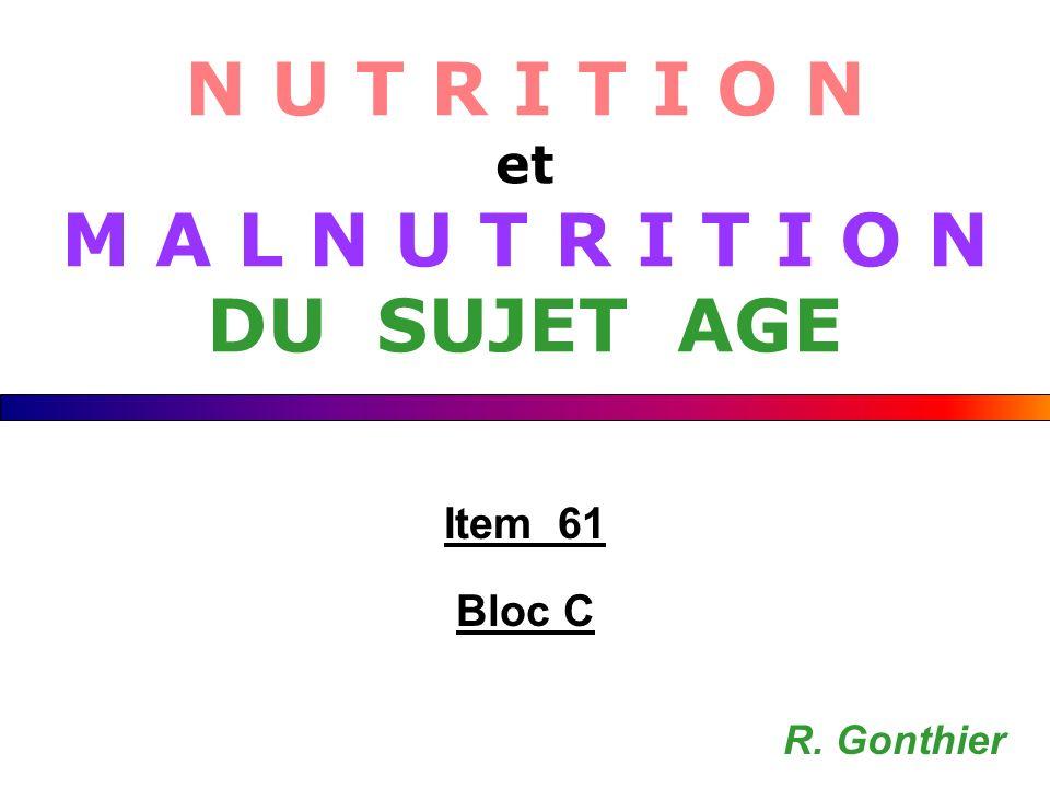 Introduction Concept de réserves nutritionnelles Besoins nutritionnels des personnes âgées Evaluation de l état nutritionnel Causes de l anorexie et de la malnutrition Prévalence Hygiène de vie et supports nutritionnels Dimension éthique de l alimentation artificielle