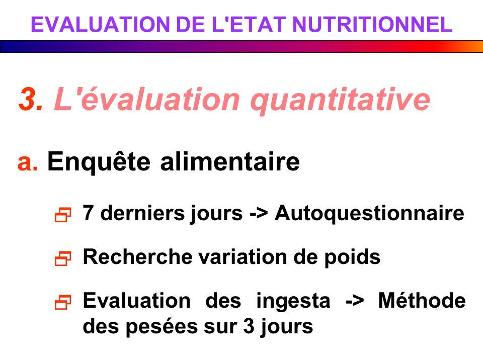 3. L'évaluation quantitative a. Enquête alimentaire 7 derniers jours -> Autoquestionnaire Recherche variation de poids Evaluation des ingesta -> Métho