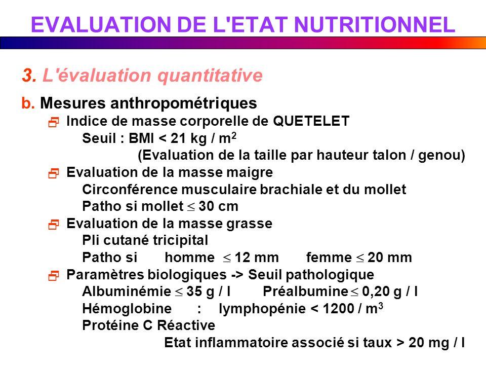 3. L'évaluation quantitative b. Mesures anthropométriques Indice de masse corporelle de QUETELET Seuil : BMI < 21 kg / m 2 (Evaluation de la taille pa