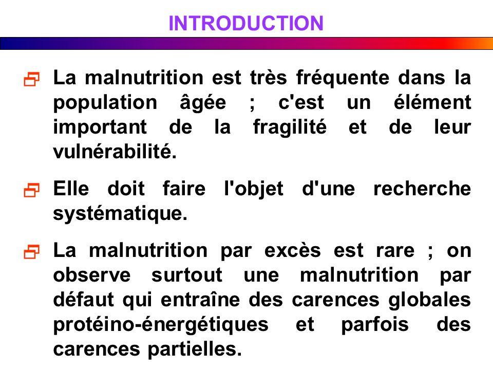 INTRODUCTION La malnutrition est très fréquente dans la population âgée ; c'est un élément important de la fragilité et de leur vulnérabilité. Elle do