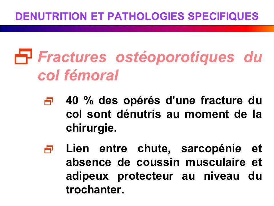 DENUTRITION ET PATHOLOGIES SPECIFIQUES Fractures ostéoporotiques du col fémoral 40 % des opérés d'une fracture du col sont dénutris au moment de la ch