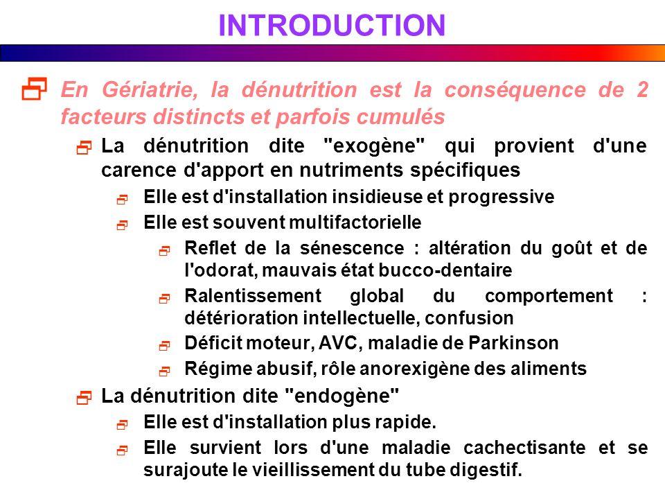 INTRODUCTION En Gériatrie, la dénutrition est la conséquence de 2 facteurs distincts et parfois cumulés La dénutrition dite
