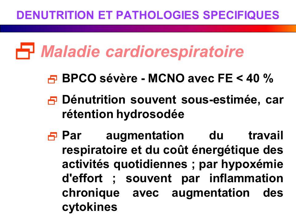 DENUTRITION ET PATHOLOGIES SPECIFIQUES Maladie cardiorespiratoire BPCO sévère - MCNO avec FE < 40 % Dénutrition souvent sous-estimée, car rétention hy