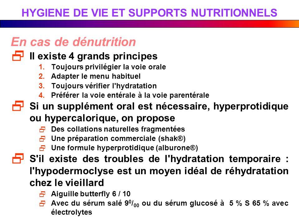 HYGIENE DE VIE ET SUPPORTS NUTRITIONNELS En cas de dénutrition Il existe 4 grands principes 1.Toujours privilégier la voie orale 2.Adapter le menu hab