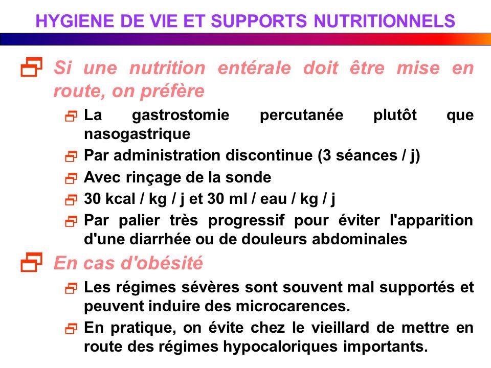HYGIENE DE VIE ET SUPPORTS NUTRITIONNELS Si une nutrition entérale doit être mise en route, on préfère La gastrostomie percutanée plutôt que nasogastr