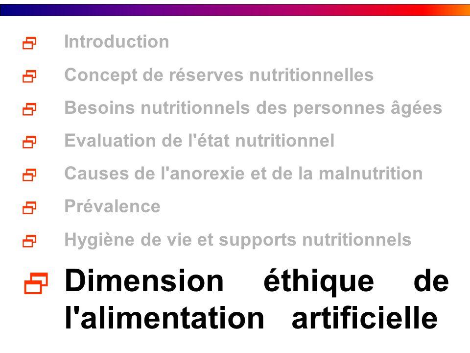 Introduction Concept de réserves nutritionnelles Besoins nutritionnels des personnes âgées Evaluation de l'état nutritionnel Causes de l'anorexie et d
