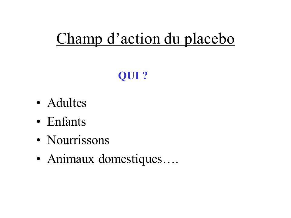 Champ daction du placebo Adultes Enfants Nourrissons Animaux domestiques…. QUI ?