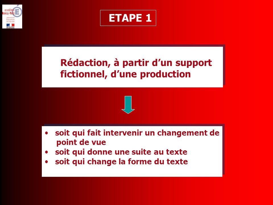 soit qui fait intervenir un changement de point de vue soit qui donne une suite au texte soit qui change la forme du texte soit qui fait intervenir un changement de point de vue soit qui donne une suite au texte soit qui change la forme du texte ETAPE 1 Rédaction, à partir dun support fictionnel, dune production