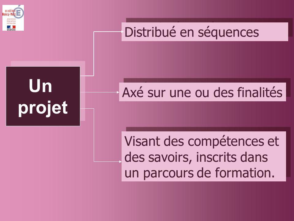 Distribué en séquences Axé sur une ou des finalités Visant des compétences et des savoirs, inscrits dans un parcours de formation.