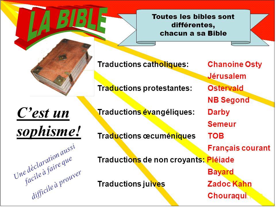 Réfutation 1 Toutes les bibles sont différentes, chacun a sa Bible
