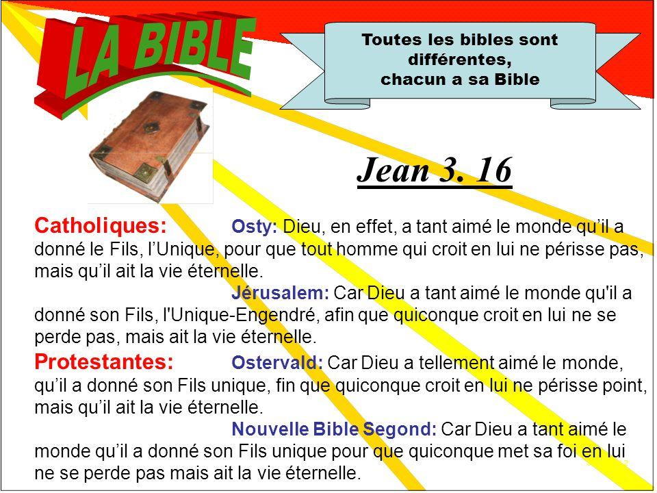 12 traductions 1.1 Toutes les bibles sont différentes, chacun a sa Bible Cest un sophisme! Traductions catholiques: Chanoine Osty Jérusalem Traduction