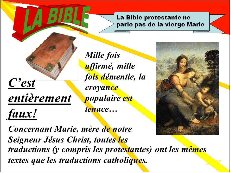 Réfutation 3 La Bible protestante ne parle pas de la vierge Marie