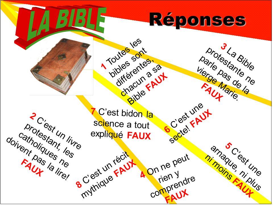 Réponses 1 Toutes les bibles sont différentes, chacun a sa Bible FAUX 3 La Bible protestante ne parle pas de la vierge Marie.