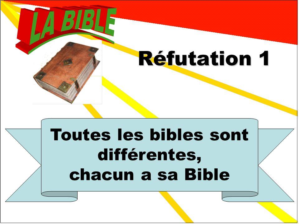 Réponses 1 Toutes les bibles sont différentes, chacun a sa Bible FAUX 3 La Bible protestante ne parle pas de la vierge Marie. FAUX 2 Cest un livre pro