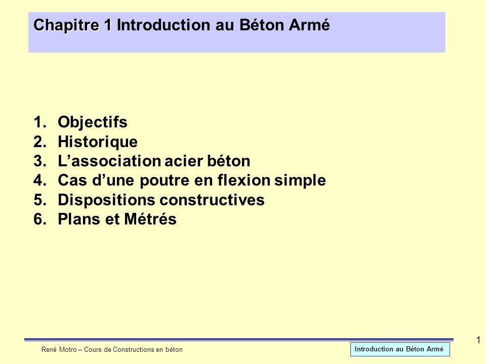René Motro – Cours de Constructions en béton Introduction au Béton Armé 1 Chapitre 1 Chapitre 1 Introduction au Béton Armé 1.Objectifs 2.Historique 3.