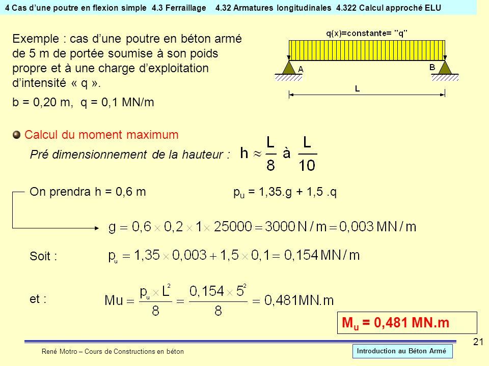 René Motro – Cours de Constructions en béton Introduction au Béton Armé 21 4 Cas dune poutre en flexion simple4.3 Ferraillage 4.32 Armatures longitudi