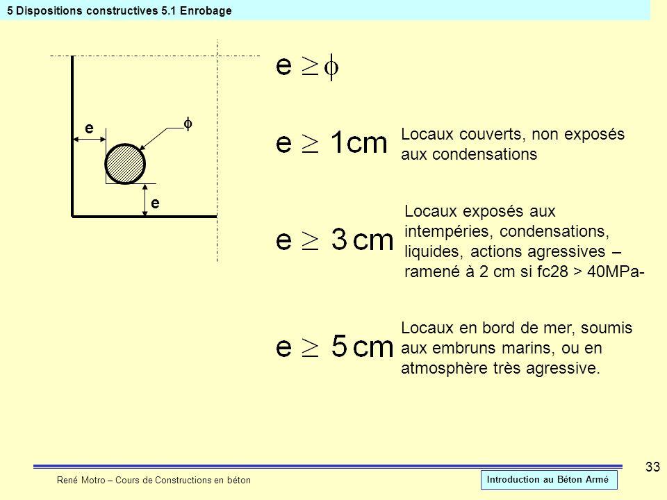 René Motro – Cours de Constructions en béton Introduction au Béton Armé 33 5 Dispositions constructives 5.1 Enrobage e e Locaux couverts, non exposés